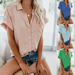 Summer Womens Casual Short Sleeve Button T Shirt Solid Tops Size Plus Blouse $14.87