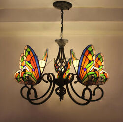 Vintage Chandelier Tiffany Ceiling Lighting Stained Glass Butterfly Lamp Fixture $249.00