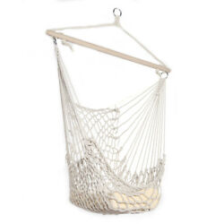 Cotton Hanging Rope Hammock Chair Swing Round Indoor Outdoor Home Garden Patio $36.99