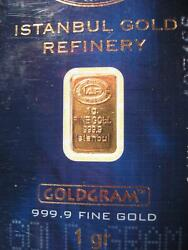 1 gram IGR Gold Bar - Istanbul Gold Refinery - 999.9 Fine in Sealed Assay $33.00