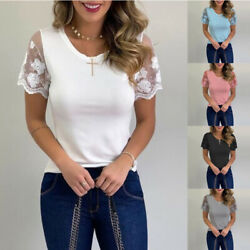 Women Summer Short Sleeve Crew Neck Casual T Shirt Lace Print Loose Tops Blouse $12.74