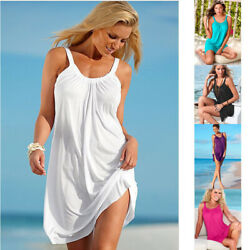 Women Summer A Line Sleeveless Crew Neck Mini Dress Loose Casual Beach Sundress $8.39
