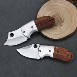 Mini EDC Pocket Folding Knife Wood Steel Handle Survival Outdoor Camping Hiking $11.76