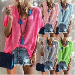 Summer Women Casual Short Sleeve T Shirt V Neck Candy Colors Tops Loose Blouse $11.54