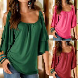Women Summer Flare Short Sleeve Cold Shoulder Solid Blouse Casual Loose T Shirt $14.16