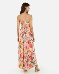 nwt EXPRESS lace up cut out maxi dress xs s floral pink chiffon $36.51