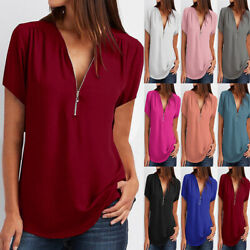 Women Summer Short Sleeve V Neck T Shirt Casual Solid Blouse Loose Zip Beach Top $8.39
