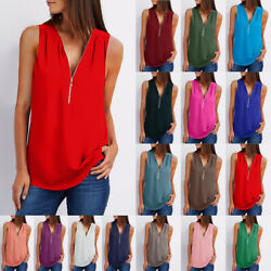Women Summer V Neck Tank Top Casual Solid Blouse Loose Zipper Tunic Beach Shirt $6.29