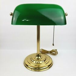 Vtg Round Brass Base Bankers Lamp Green Glass Shade Emeralite **Flaws Read** $19.99