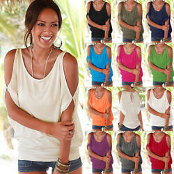 Women Summer Crew Neck Cold Shoulder T Shirt Solid Casual Blouse Loose Beach Top $7.34