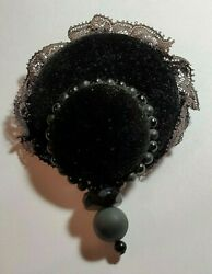 Maria Calderara Velvet Lace and Bead Brooch.....Rare and Unique! $25.00