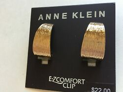Anne Klein Clip Earrings Gold Tone New Over Stock With Tags