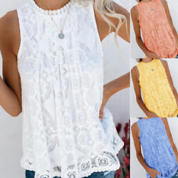 Women Summer Sleeveless Solid Lace Crew Neck Blouse Casual Loose Tank T Shirt $10.49