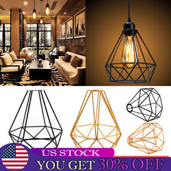 Industrial Vintage Lamp Shade Hanging Pendant Lights Retro Cage Bulb Guard Wire $36.69