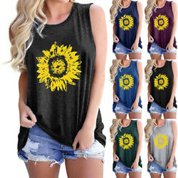 Women Summer O Neck Tank T Shirt Sunflower Print Blouse Casual Loose Beach Tops $9.98