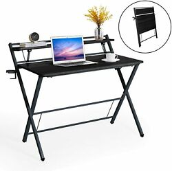 40'' for Small Space 2 Tier Home Office Study Writing Computer Desk Laptop Table $91.99