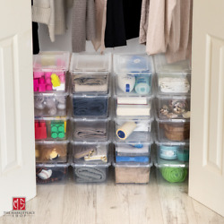20 Pack Shoe Storage Boxes Plastic Bin with Lid Stackable Design Container Clear $40.95