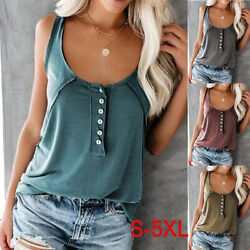 Women Summer Crew Neck Tank Casual Solid T Shirt Loose Button Blouse Beach Tops $9.44