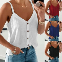 Women V Neck Suspender Tank Solid Casual T Shirt Loose Button Blouse Beach Tops $9.44