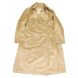 Second Hand Chanel Coco Mark Button Silk Trench Coat Beige Size 42 2106 No.89580