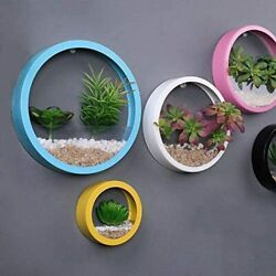 Round Metal Wall Planter Indoor Plants Planter Wall Metal Vase Indoor Wall Decor $16.99
