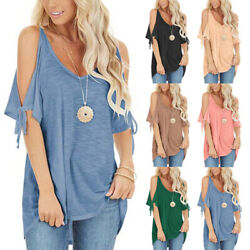 Women Summer Cold Shoulder V Neck Blouse Solid Lacing Casual T Shirt Beach Tops