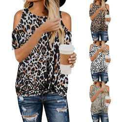 Women Summer O Neck Cold Shoulder T Shirt Leopard Print Blouse Casual Beach Tops $10.49