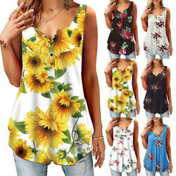 Women Summer Crew Neck Tank T Shirt Casual Floral Print Blouse Beach Loose Tops $10.49