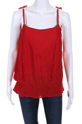 Chanel Womens Silk Sleeveless CC Collar Pleated Top Red 04A Size 42 European