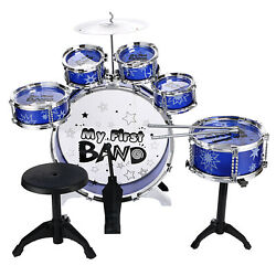 BLUE COLOR 6 Drum Set Toy Band Desk Novelty Percussion Play Kit Kids Toys $49.46