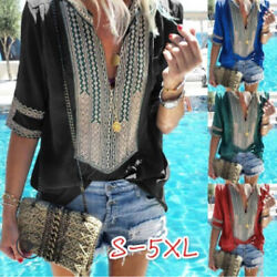 Women Summer Casual Short Sleeve T Shirt V Neck Tops Floral Boho Loose Blouse $14.93