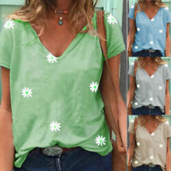 Women V Neck T Shirt Casual Floral Print Blouse Short Sleeve Loose Holiday Tops $8.82