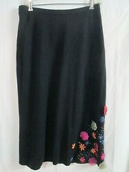 Carole Little Large Black Silk Cashmere Knit Skirt with Embroidered Flowers $32.00