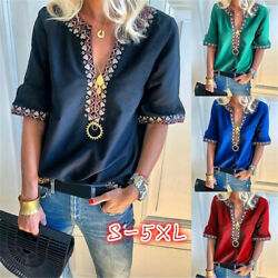 Women Summer V Neck T Shirt Mid Sleeve Boho Floral Blouse Casual Loose Beach Top $9.86