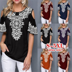 Summer Women Casual Short Sleeve Floral T Shirt Round Neck Tops Loose Blouse $14.10
