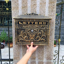 European Retro Vintage Wall Mount Locking Mailbox Cast Iron Aluminum Letter Box $58.99