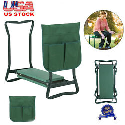 Foldable Garden Kneeler Bench Kneeling w/ EVA Pad Cushion Seat With Stool Pouch $34.87