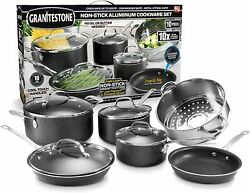 GRANITESTONE 10 PIECE NONSTICK POTS&PANS SET 100% PFOA FREE DISHWASHER SAFE FRSH $76.99