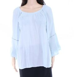 INC Women's Blouse Periwinkle Blue Size Medium M Embroidered Crochet $74 #272
