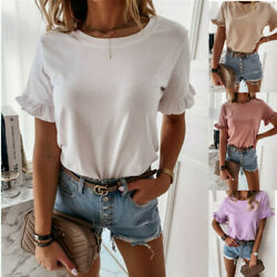 Summer Women Casual Crew Neck T Shirt Short Sleeve Tops Loose Solid Blouse $8.99