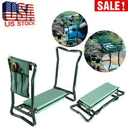Garden Foldable Kneeler Bench Stool Soft Cushion Seat Pad Kneeling  Tool Pouch $31.99