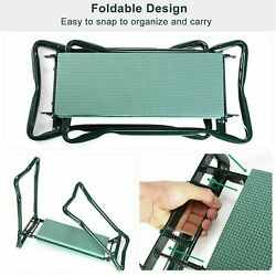 Garden Foldable Kneeler Bench Stool Soft Cushion Seat Pad Kneeling-w Tool Pouch. $30.99