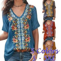 Summer Women Casual Short Sleeve T Shirt V Neck Floral Tops Size Plus Blouse $14.52