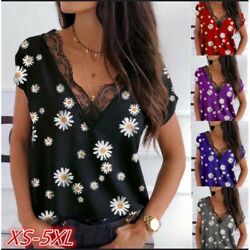Summer Women Casual Lace Sleeveless Tank Top V Neck Floral T Shirt Loose Blouse $13.48