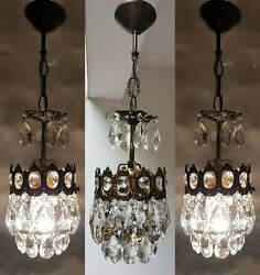 Three Matching Antique Vintage Brass amp; Crystals French Small Chandelier Lamp GBP 375.00