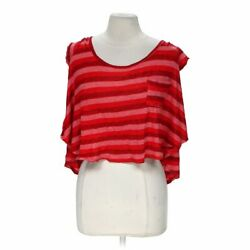 Pretty Rebellious Women's Cropped Striped Shirt size M  red  polyester rayon $15.80