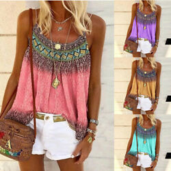 Women Loose Boho Print Sleeveless T Shirt Summer Crew Neck Casual Tops Blouse $9.98