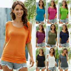 Women Solid Loose Crew Neck Cold shoulder T Shirt Short Sleeve Tunic Tops Blouse $12.97