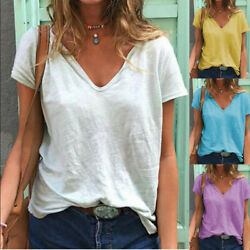 Women Summer Casual Short Sleeve T Shirt V Neck Tunic Loose Solid Blouse $13.80