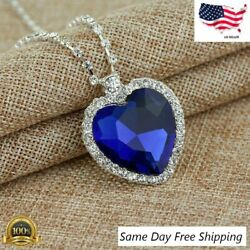 NEW Titanic Heart of The Ocean Sapphire Blue Crystal Necklace Pendant MEMORY Gif $4.99